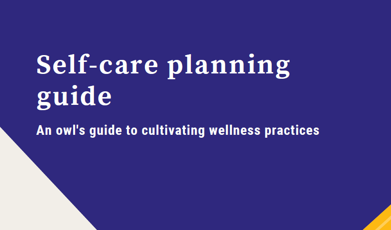 "Text reads ""Self-care planning guide An owl's guide to cultivating wellness practices"""