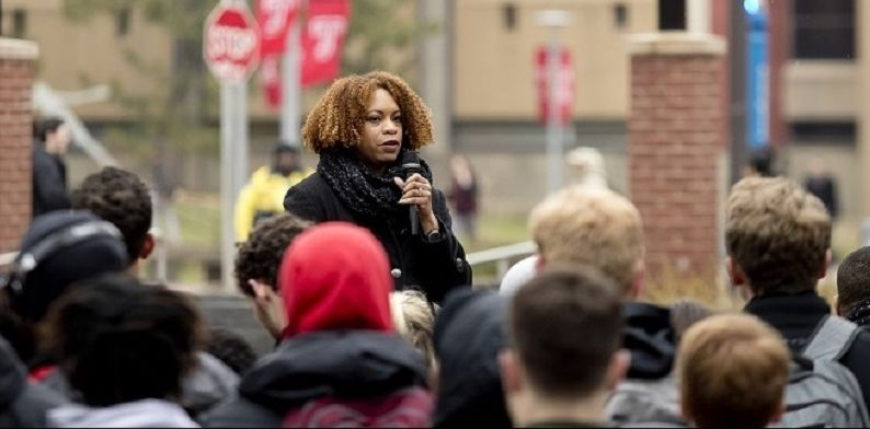 Chimi Boyd-Keyes speaking to a crowd of students at WalkTU 2018