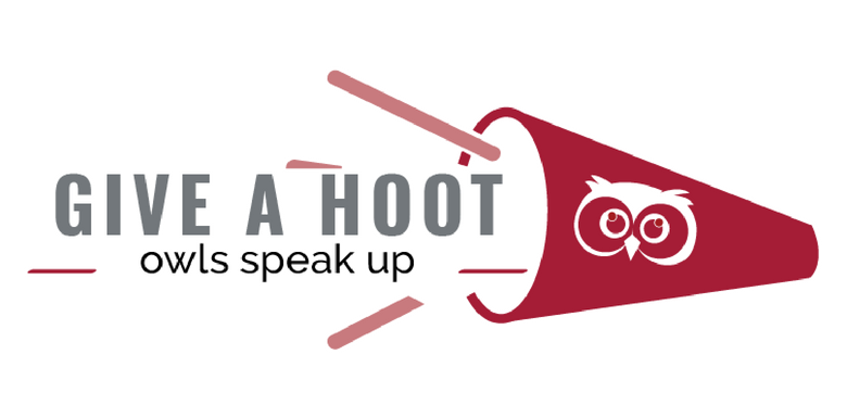 Give a Hoot Logo - a red megaphone with an owl on it next to Give a Hoot Owls Speak Up