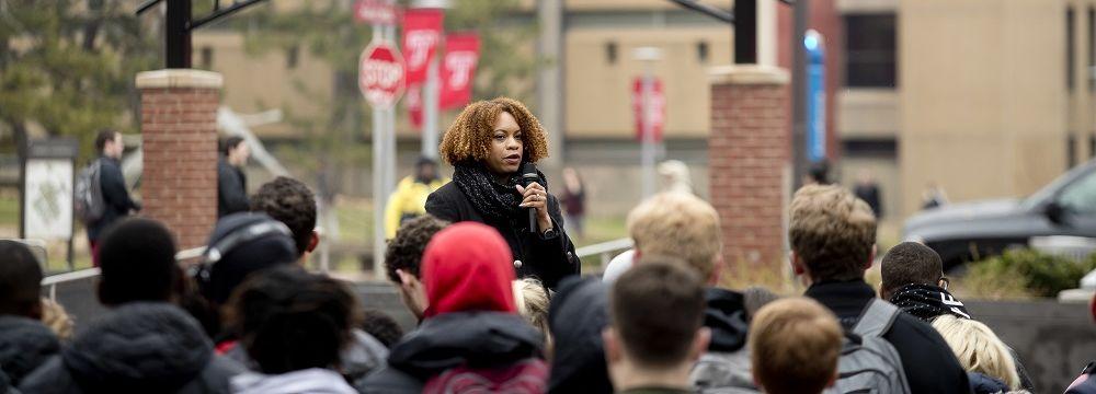 Chimi Boyd-Keyes speaking to crowd at WalkTU 2018