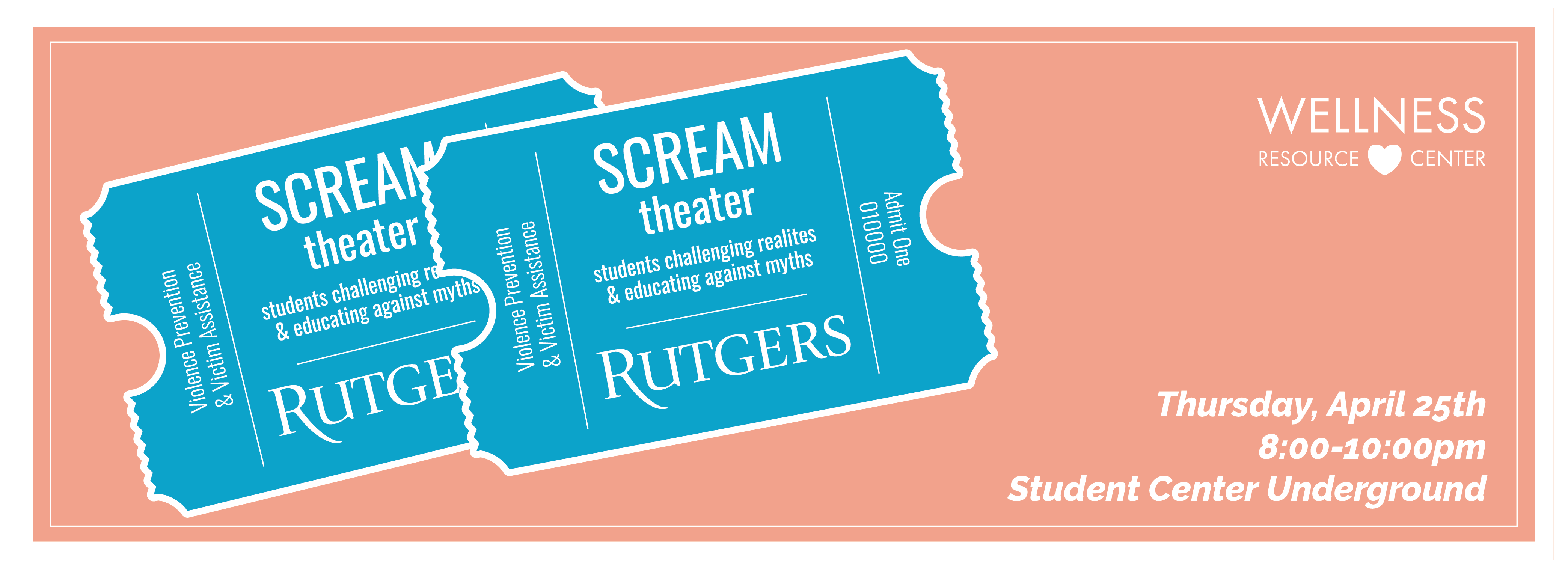 SCREAM Theater ticket logo on pink background